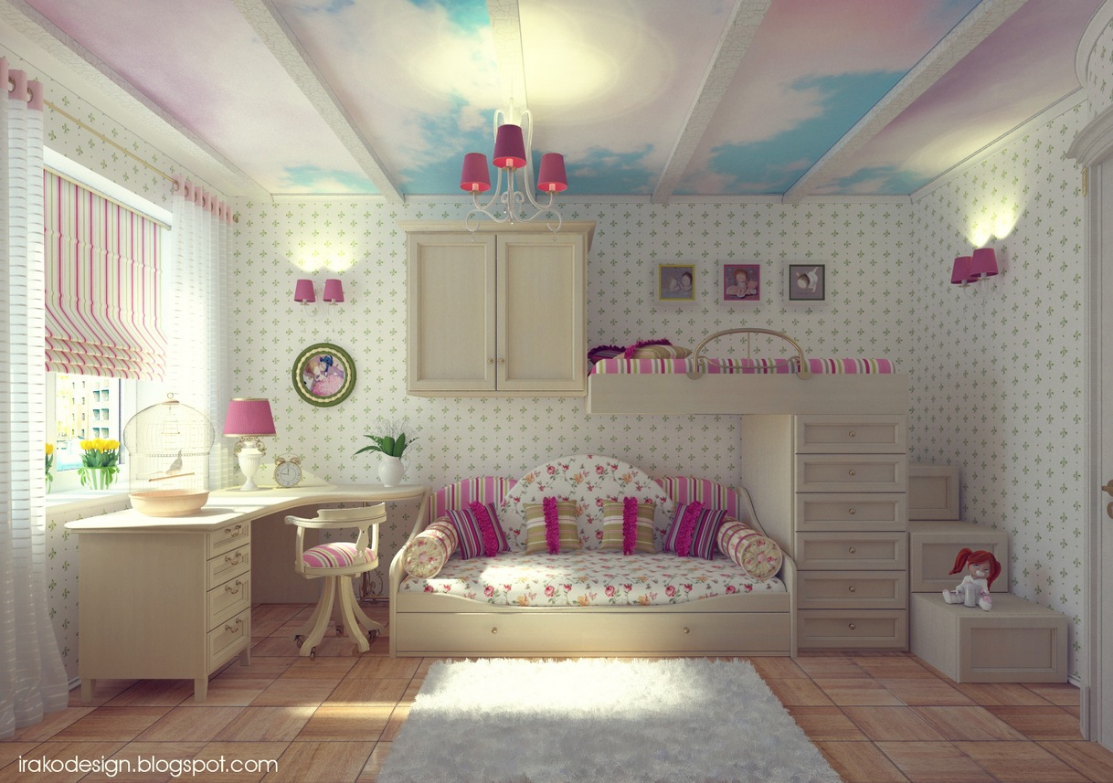 Cloud ceiling mural girls room Bedroom Ideas For Girls
