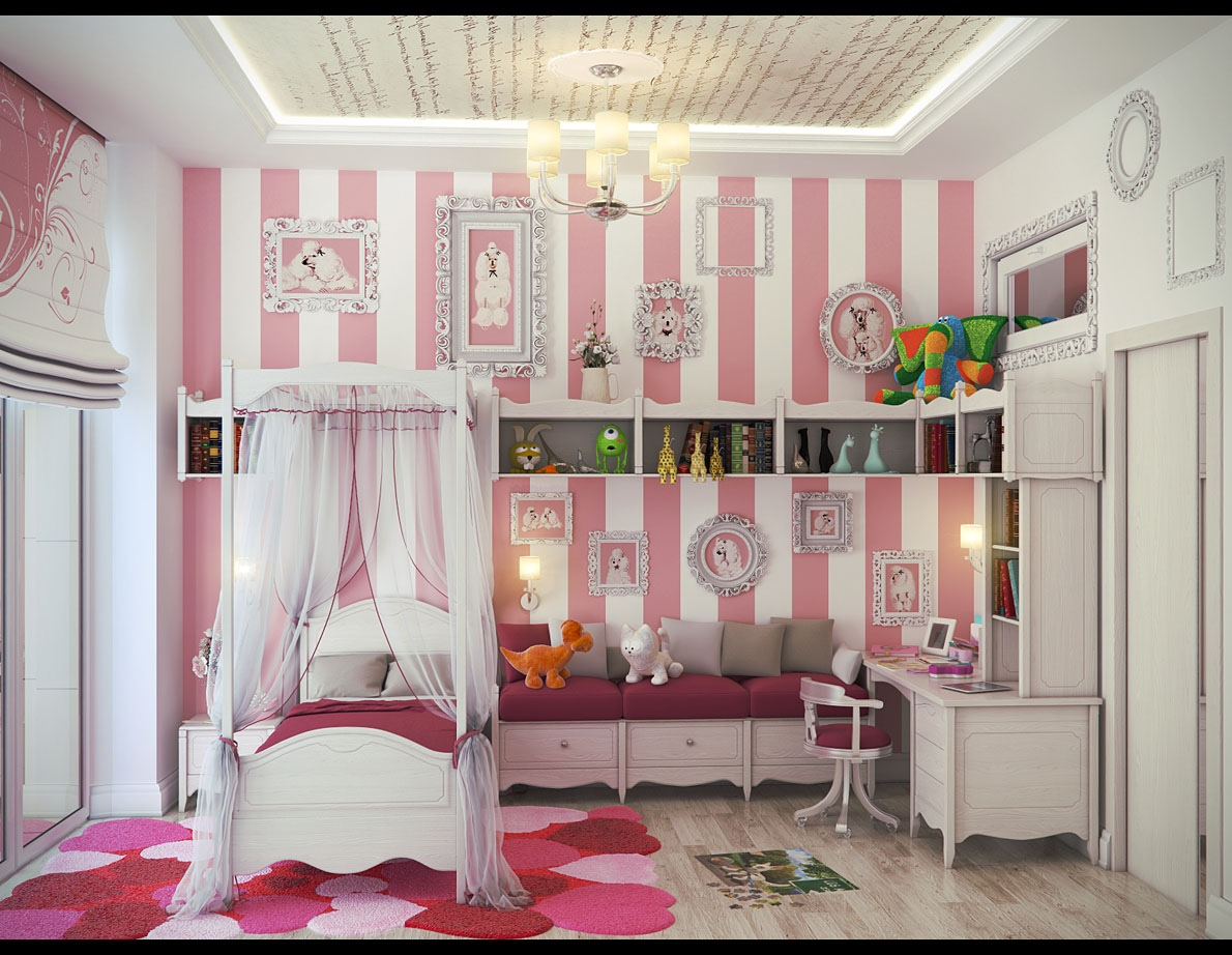 PInk white stripe wall girls bedroom Bedroom Ideas For Girls