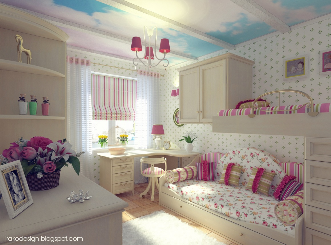 Pink white blue girls room Bedroom Ideas For Girls