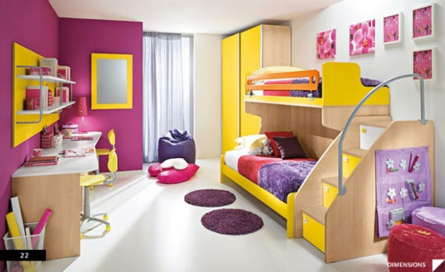 bedroom extraordinary cheerful purple yellow themed girls bedroom interior design with unique bunk bed and pretty purple small round rugs delightful decorating ideas for sweet girls bedroom interior Bedroom Ideas For Girls