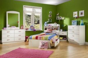 modern youth bedroom set furniture green paint wall design1 300x199 Reinventing an Old House to a Modern Twist