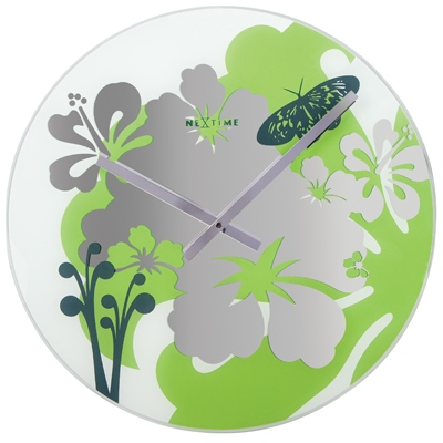 Hibiscus green wall clock Cool clock designs