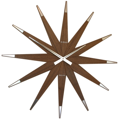 In House Real Solid Walnut Star Clock