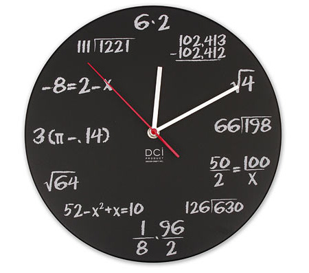 Pop Quiz Math Clock Cool clock designs