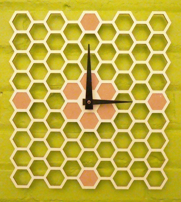honeycomb-wall-clock