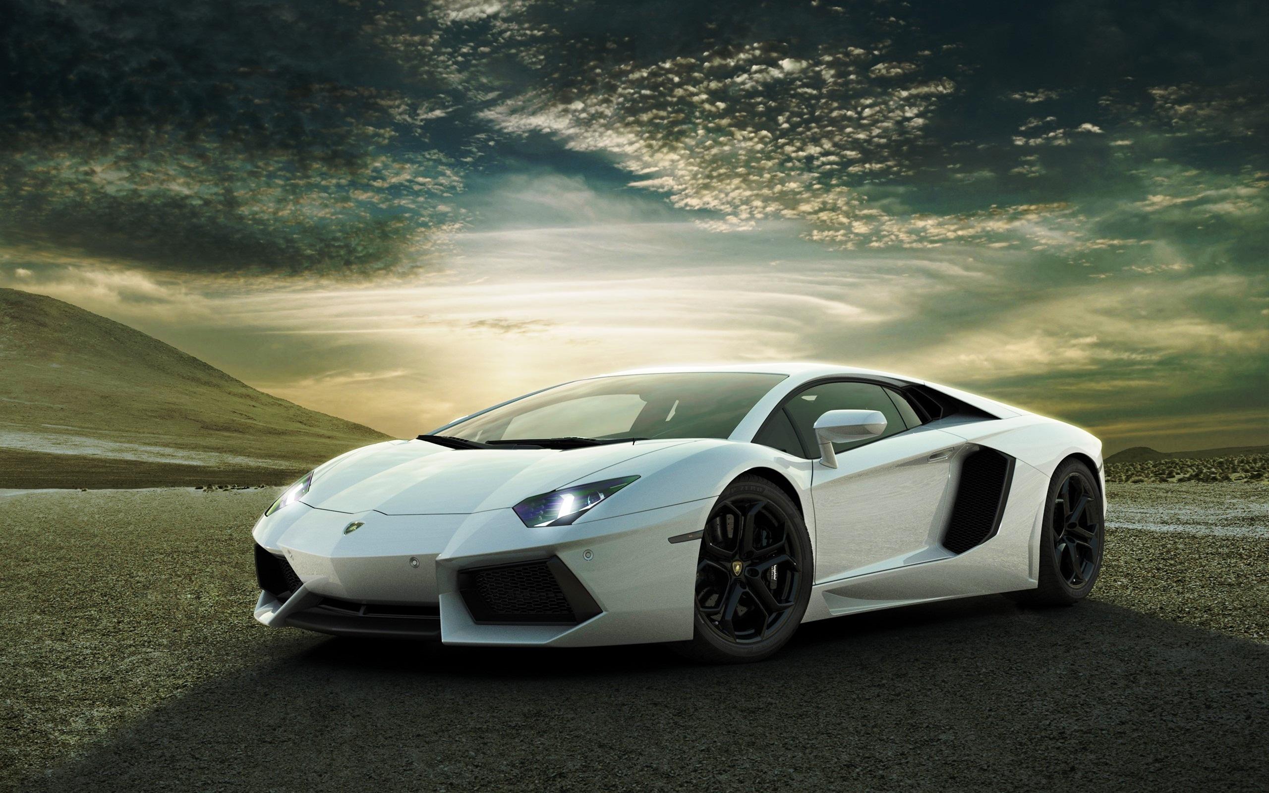 white lamborghini aventador wide The Lamborghini Aventador